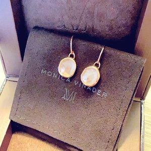 Monica Vinader Siren Wire Earrings Rose Quartz